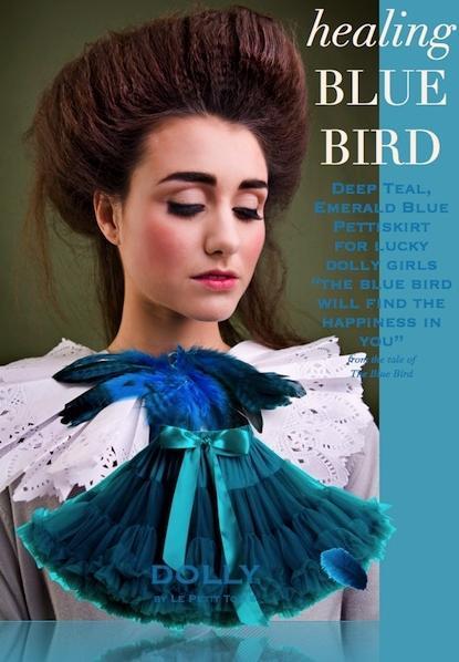 Dolly sukňa - Modrý  vtáčik veľ.M, M