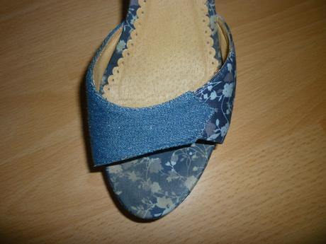 Modré riflové sandálky, 41