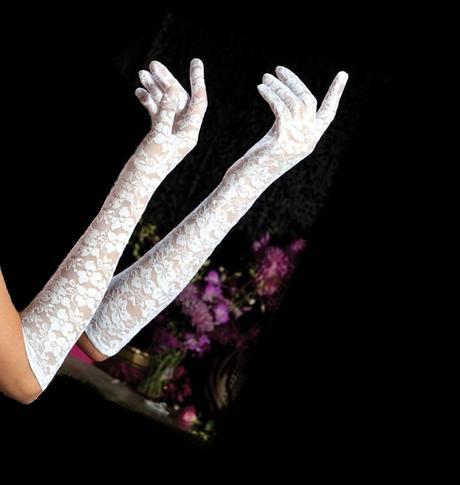 Čipkované rukavičky dlhé,