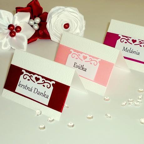 Menovky na svadobný stôl , rôzne farby,