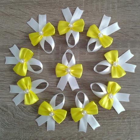 Pierka na svadbu žlté rôzne odtiene,