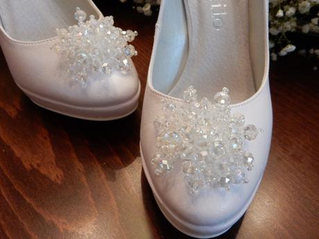Svadobné topánky s kryštálmi v tvare kvetinky, 38