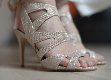 Třpytivé společenské boty na podpatku, 38