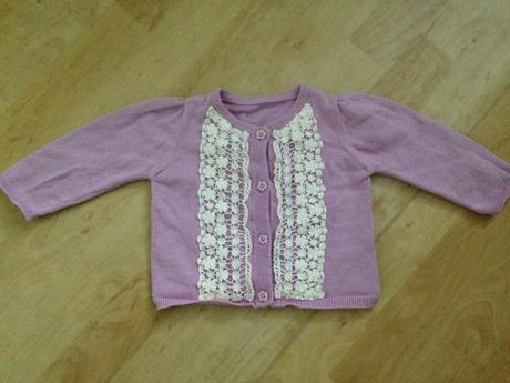 Světle fialový svetřík pro holčičku, vel 6-9 měs., 74