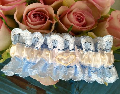 Luxusní krajkový podvazek s perličkami , M