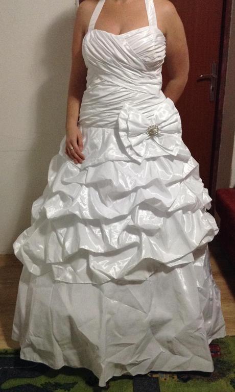Svadobné šaty s mašlou, 44