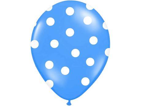 Balónky puntík pastel - tm. modrá,