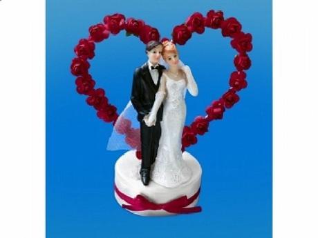 Figurka novomanželé na dort  15cm, bordó,