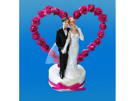 Figurka novomanželé na dort  15cm, ivory,