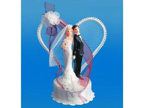 Figurka novomanželé na dort  18cm, bílo/bordo,