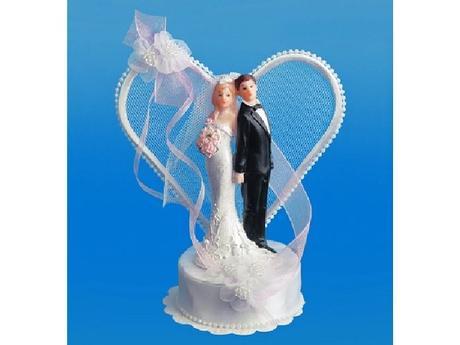 Figurka novomanželé na dort  18cm, bílo/růžová,