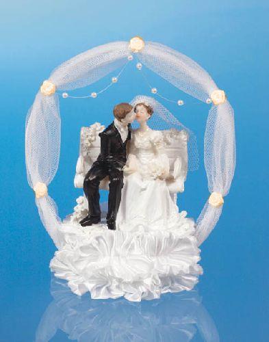 Figurka novomanželé na lavičce 18cm, bílá/losos,