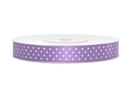 Saténová stuha puntík lila 12mm x 25m,