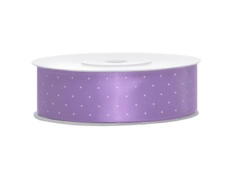 Saténová stuha puntík lila 25mm x 25m,