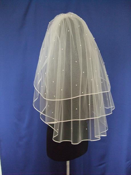 Svadobny zavoj 3-vrstvovy s lemom a perlickami 85,