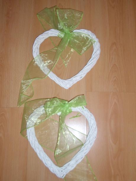 2 x bílé srdce,