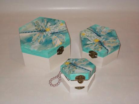 Drevená šperkovnice - dekoračne krabičky 3v1,