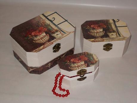 Drevená šperkovnice - dekoračne krabičky 3v1 ,