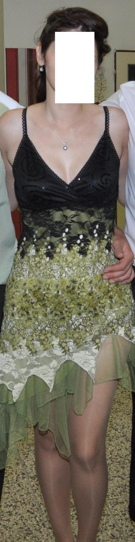 zeleno-čierne šaty, 38