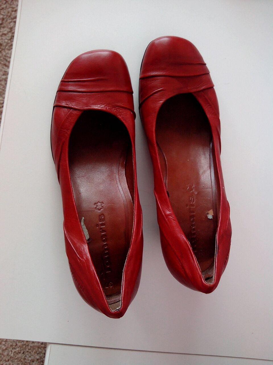 2b1917476009 Červené kožené lodičky