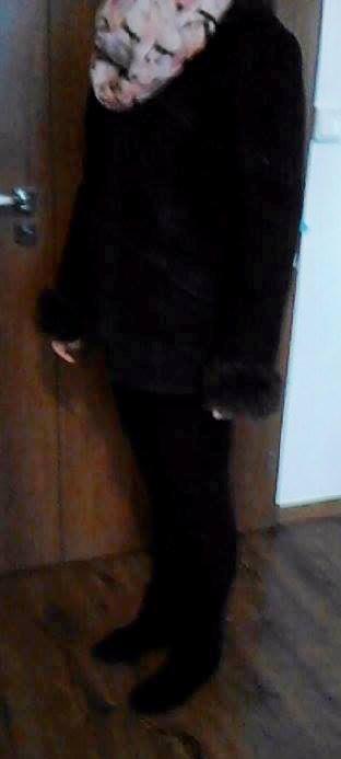 Dámsky hnedý zimný kožuch, 40