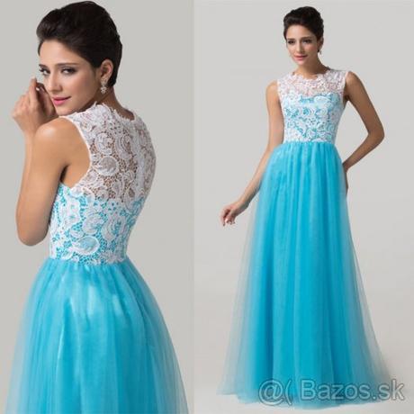 Bielo - modré - spoločenské šaty   40 -42 47146902756