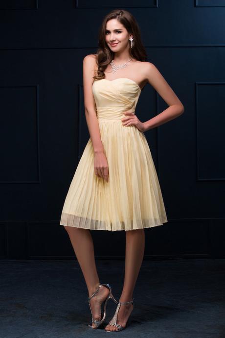 Krátke spoločenské šaty žlté - 32- 38, 32