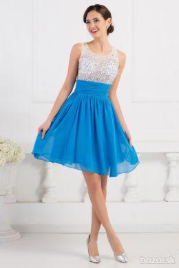 8472d9db74a4 Modré krátke spoločenské šaty   32 -34 do 48 hod