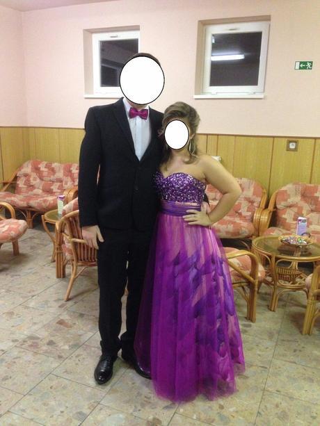 ružovo fialové spoločenske šaty Luxuar, 34