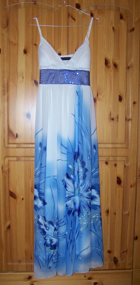 Dlhé spoločenské šaty bielo-modré, L