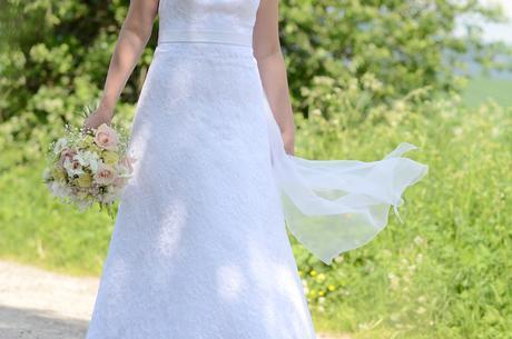 Čipkové svadobné šaty, A-strih, veľkosť 38-40, 38