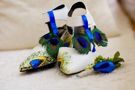 Originální malované svatební boty na platformě, 37