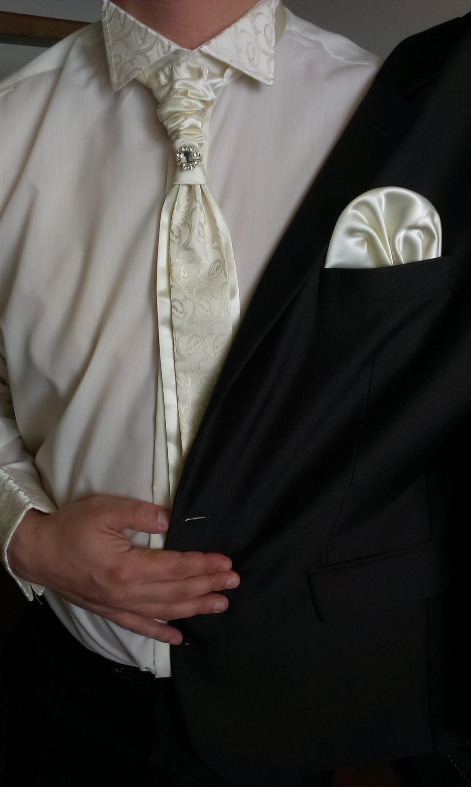 655596e0e442 Svadobná košeľa s francúzskou kravatou a vreckouko