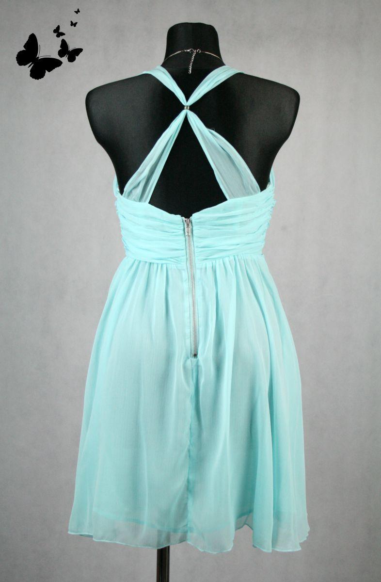 Tyrkysové společenské krátké šaty vel 40 99361f87613