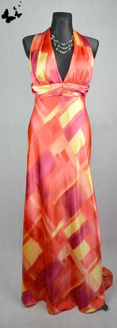 Barevné saténové šaty na ramínka vel 40, 40