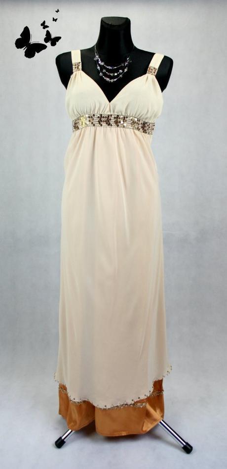 Béžové dlouhé šaty vel 42, 42
