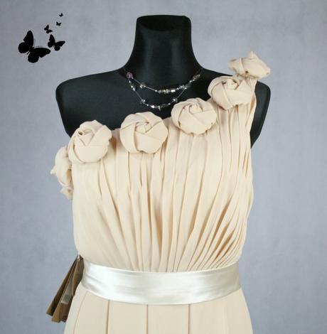 Béžové dlouhé společenské šaty na jedno rameno vel, 38