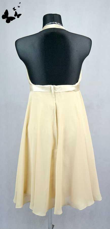 Béžové koktejlové šaty s volnými zády vel 38, 38