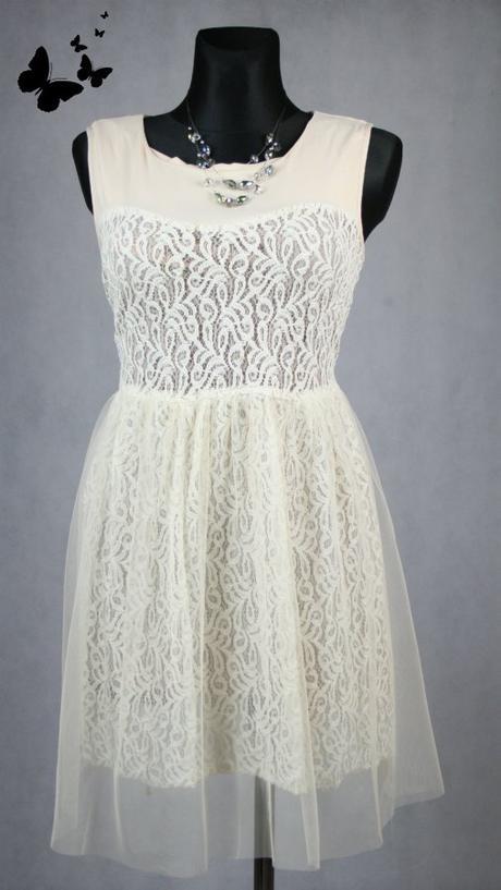 Béžové krajkové šaty vel 44-46, 44