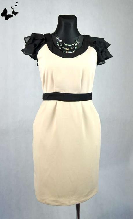 Béžové šaty s kapsami vel 38, 38