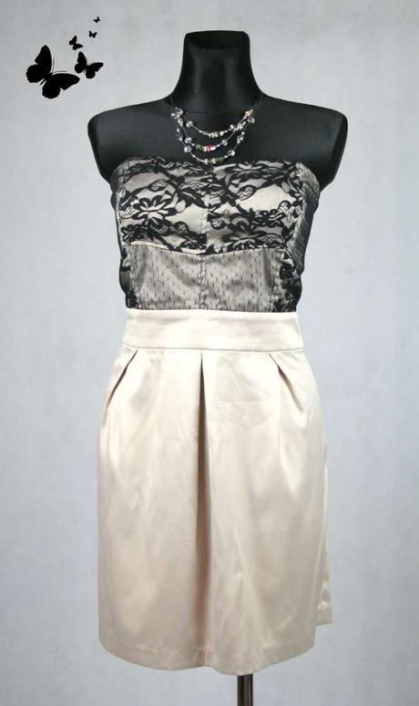Béžové společenské šaty s krajkou vel 46, 46