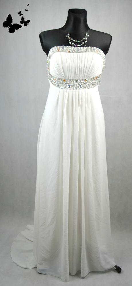 Bílé dlouhé společenské šaty vel 38, 38