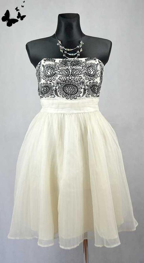 Bílé šaty s černým vyšíváním vel 42, 42