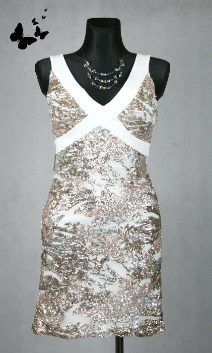 Bílé šaty s flitry vel 40, 40