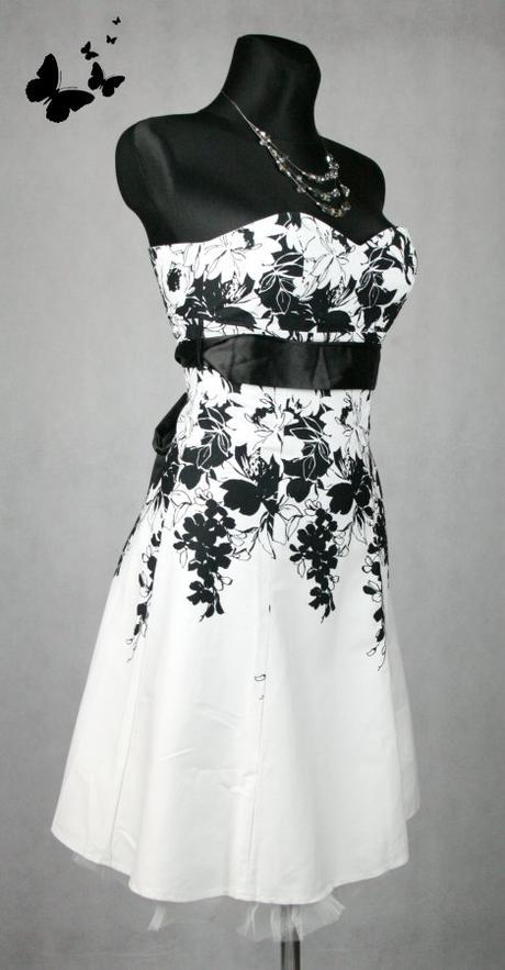 Bílo-černé společenské šaty Jane Norman vel 34-36, 36