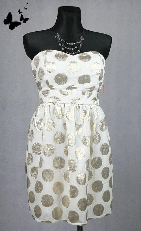 Bílo-zlaté puntíkované společenské šaty vel 42, 42