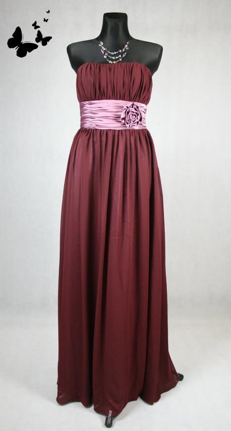 Bordeaux dlouhé společnské šaty vel 38, 38