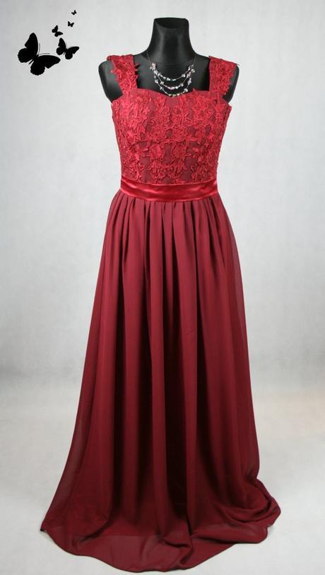 Bordeaux společenské dlouhé šaty s krajkou vel 40, 40