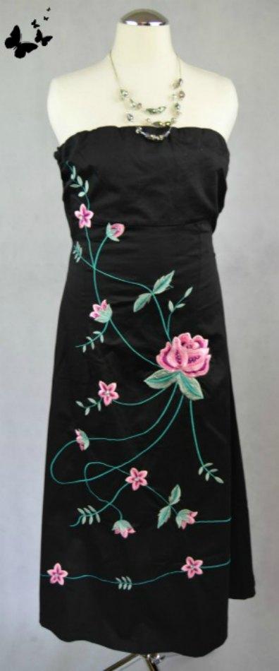Černé koktejlové šaty s květinami vel 38, 38