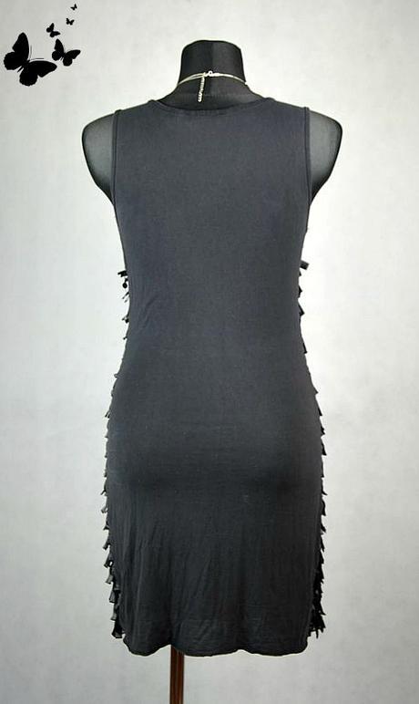 Černé krátké jednoduché šaty se střapci vel 38-40, 38